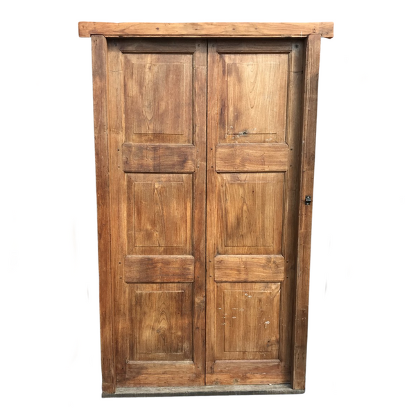 Antique Indian teak door in frame (H197cm | W155cm)
