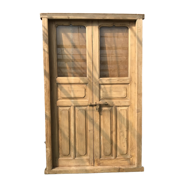 Vintage Indian Pine doors with Glass Panels (H228cm | W135cm)