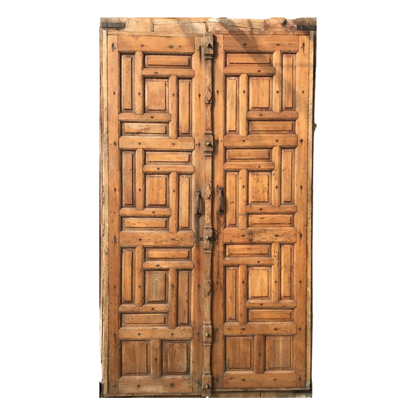 Vintage Indian Teak and Pine Panelled Door (H220cm | W120cm)