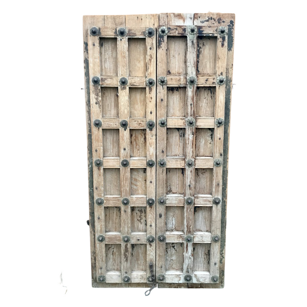 Antique Indian Acacia Door with studs (H203cm | W103cm)