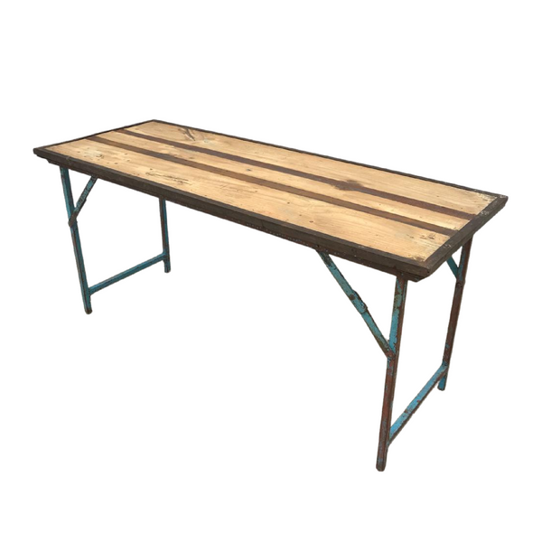 RECLAIMED MILITARY FOLDING TRESTLE TABLE | BLUE PATINA (W153CM | H73CM)