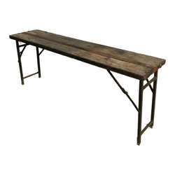 RECLAIMED INDIAN MILITARY FOLDING TRESTLE TABLE (W153CM | H76CM)