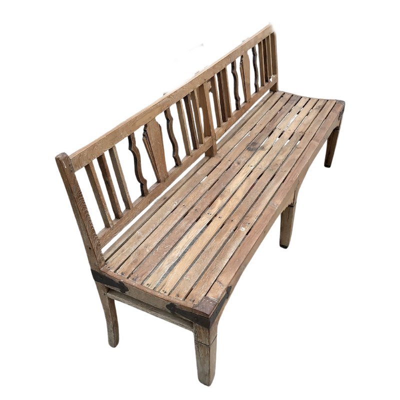 VINTAGE TEAK ANGLO INDIAN BENCH (W188CM | H88CM)