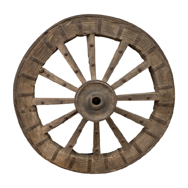 VINTAGE INDIAN TEAK CART WHEEL GARDEN DECORATION | 110CM