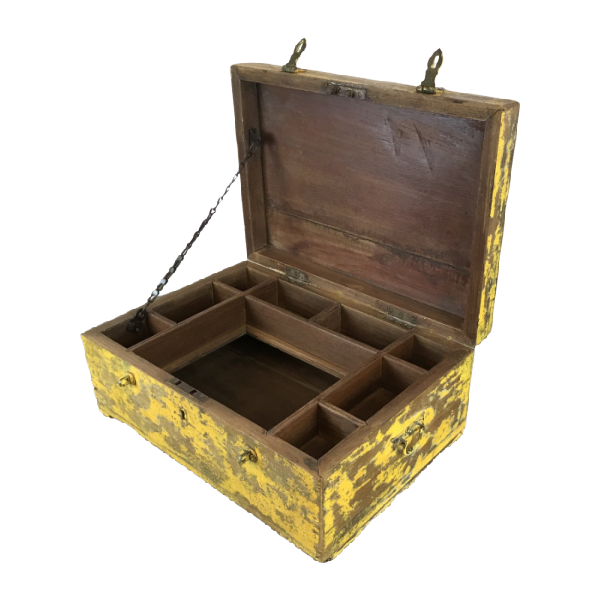 YELLOW PATINA PAINTED INDIAN DESK JEWELLERY BOX