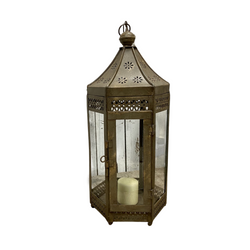 INDIAN METAL HURRICANE LANTERN | OLD GOLD (DIAM Ø25CM | H60CM)