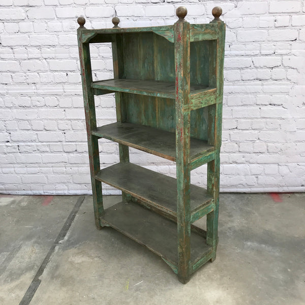 Reclaimed teak wood shelving with green and red patina