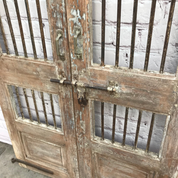 Vintage Indian Teak Gate with metal bars | H187cm W103cm (W)