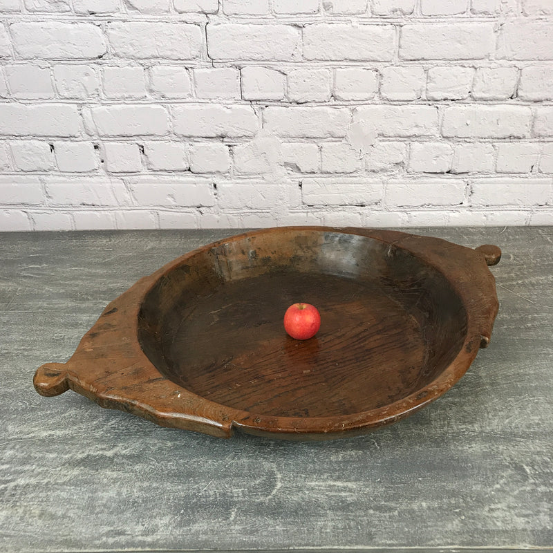 VINTAGE HAND CARVED INDIAN TEAK BOWL (Ø60CM | W89.5CM)