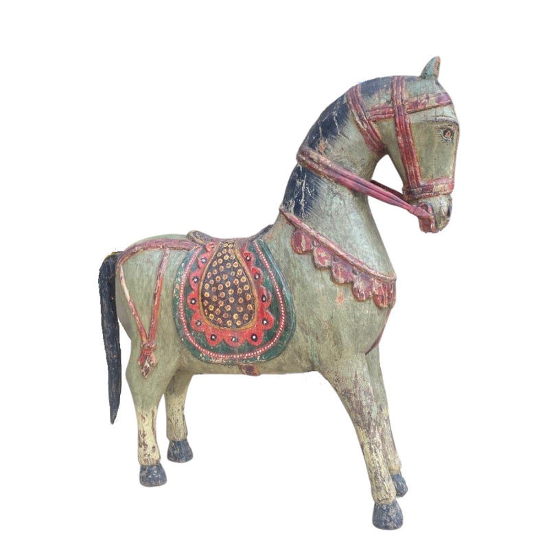 ANTIQUE HAND PAINTED INDIAN HORSE STATUE (H76CM | W69CM | D16CM)