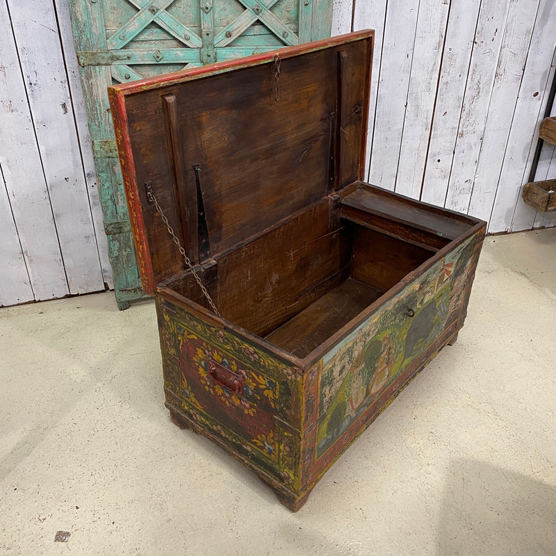 ANTIQUE INDIAN HAND PAINTED TEAK DOWRY CHEST
