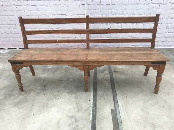 Rustic colonial style wood bench with carved legs | 40305 (W)
