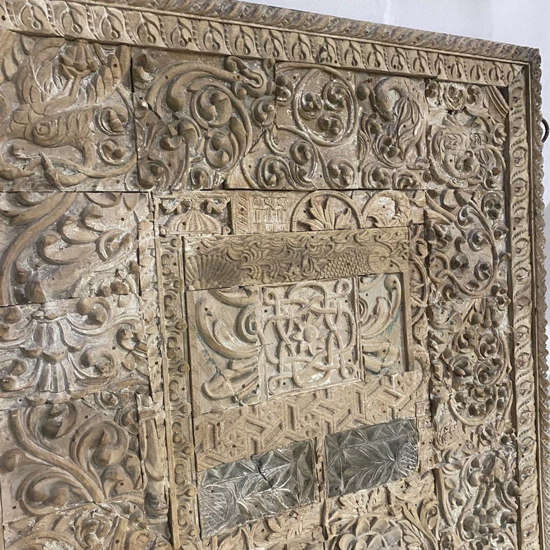 Vintage Indian print block collage wall decor/ headboard