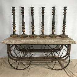 VINTAGE GREY INDIAN CANDLE STAND (H61CM | BASE17CM)