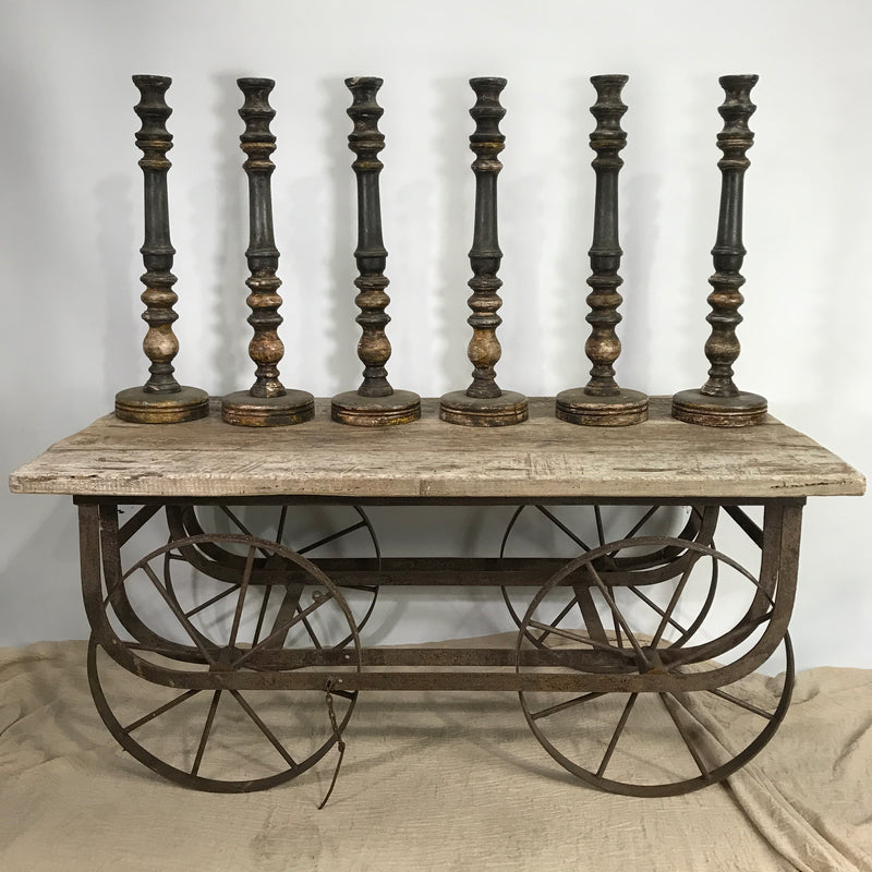 RUSTIC GREY INDIAN CANDLE STAND (H61CM | BASE17CM)