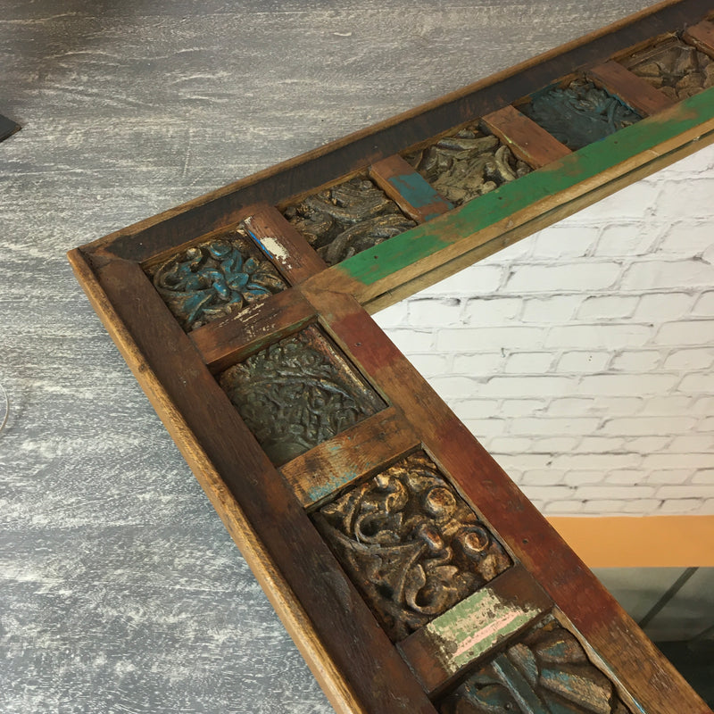 Reclaimed print block mirror | 44839