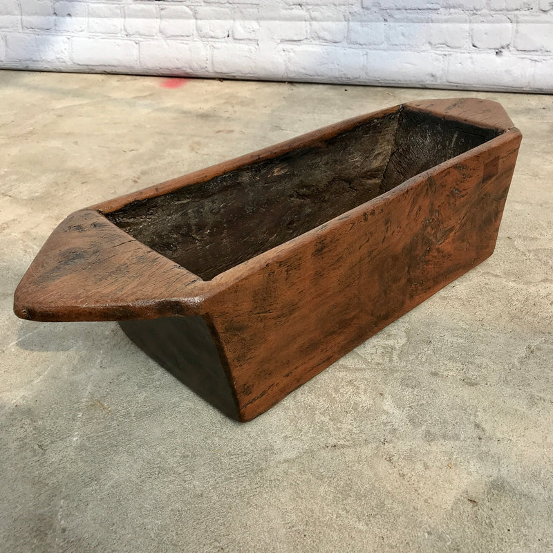 Vintage teak wood trough planter from India