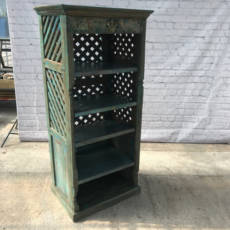 DECORATIVE CARVED AND RATTAN STYLE BOOKCASE (H166CM | W75CM)