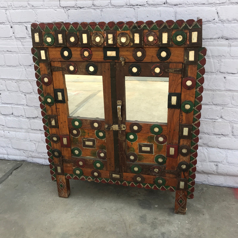 ANTIQUE INDIAN DAMCHIYA CABINET | 2DR (H102CM | W83CM)