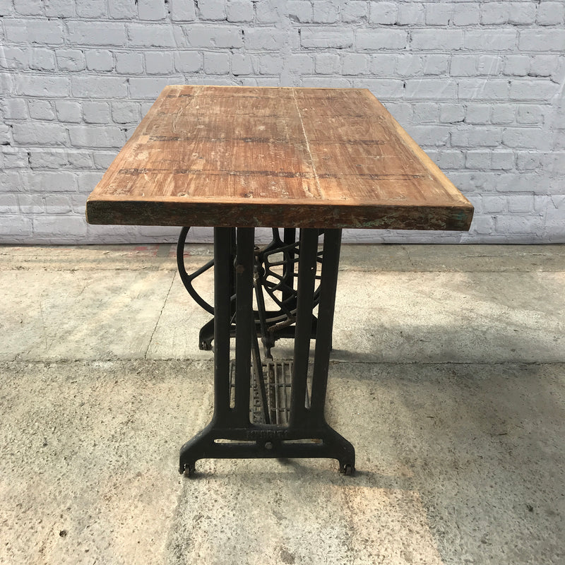 Upcycled vintage sewing machine side table
