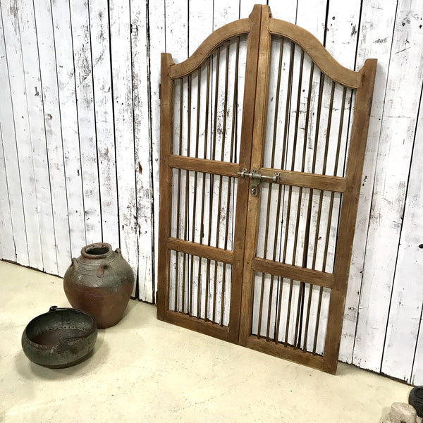 Vintage Indian Teak & Brass Garden Dog Gate (H173CM | W106CM)