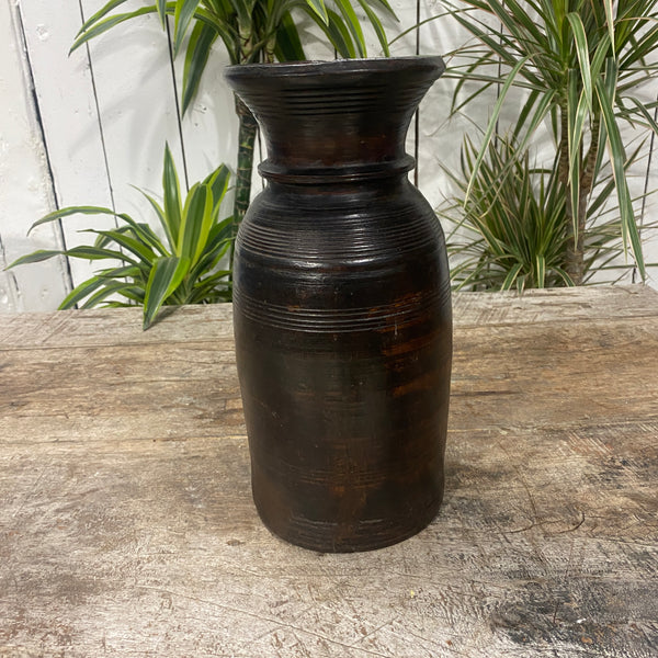 ANTIQUE NEPALESE GHEE WOODEN POT | H32CM DIAM Ø15