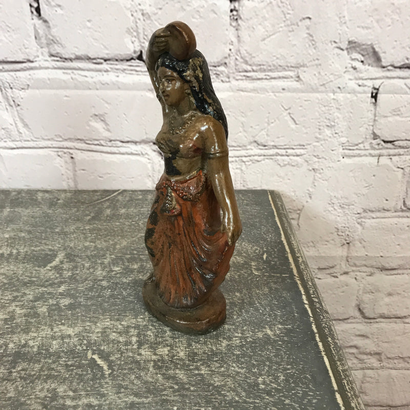 VINTAGE INDIAN TERRACOTTA TOY LADY FIGURINE