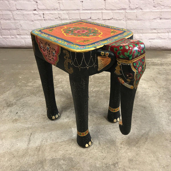 Vintage Indian hand painted carved elephant side table/ stool