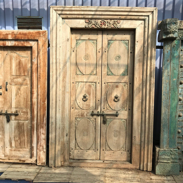 Vintage Indian Carved Door in Frame (H230cm | W130cm)