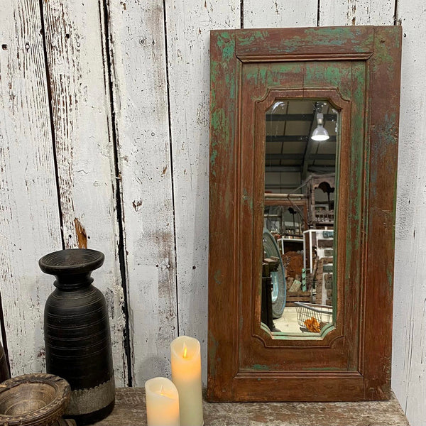 HAND PAINTED TEAK WALL MIRROR