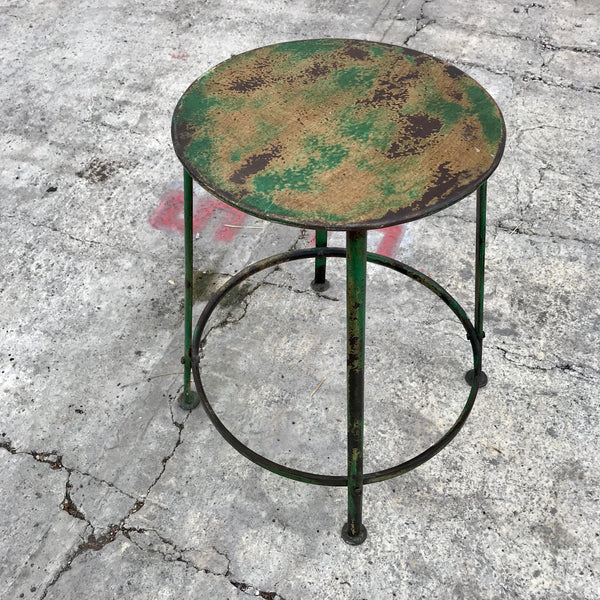 INDUSTRIAL STYLE METAL STOOL | GREEN PATINA