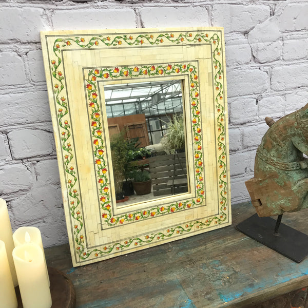 HAND PAINTED CAMEL BONE INLAID INDIAN MIRROR FRAME (H56CM | W46CM)