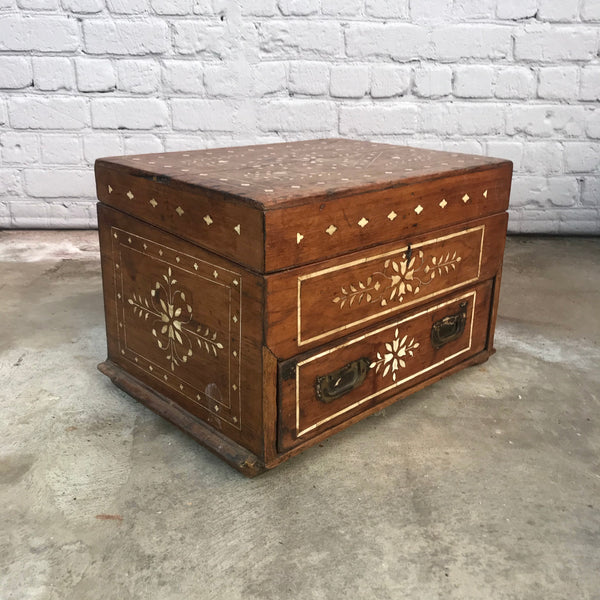 ANITQUE BONE INLAY CHEST WITH DRAW