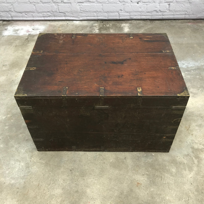 ANTIQUE ANGLO INDIAN METAL BANDED CHEST