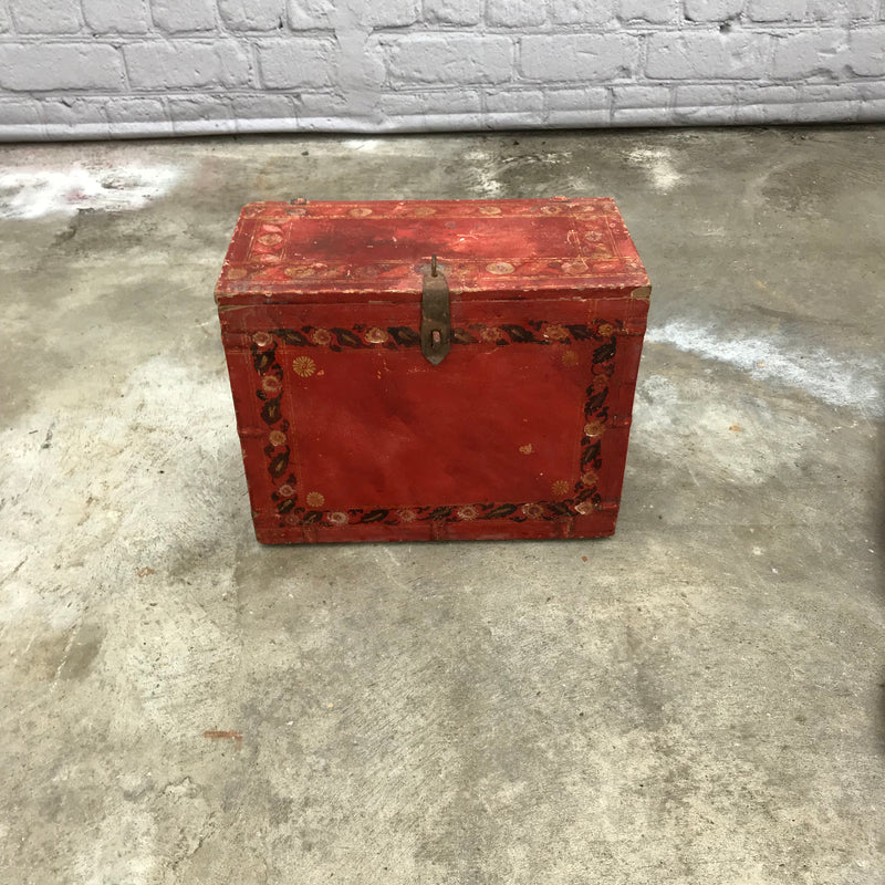 Vintage colourful hand painted red wood box with floral motif | 41104