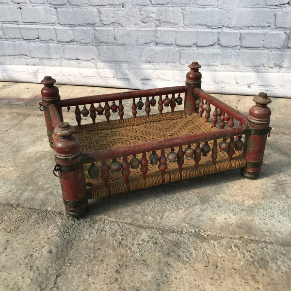 ANTIQUE INDIAN ROCKING CRIB | UPCYCLE OPPORTUNITY FOR DECORATIVE COFFEE TABLE OR PET BED