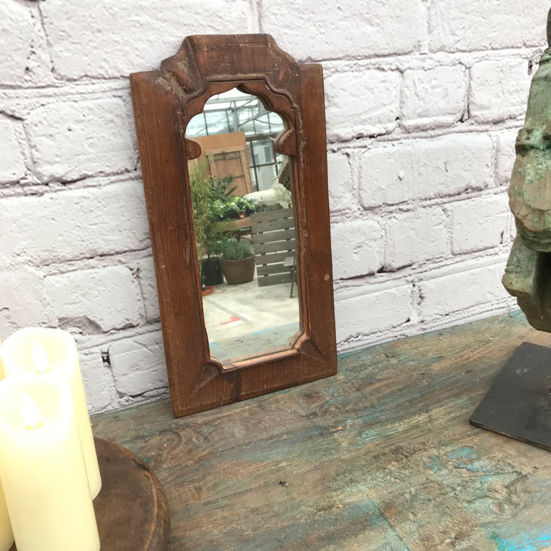 Old hand carved Indian teak wall mirror with a mihrab style  | 24121