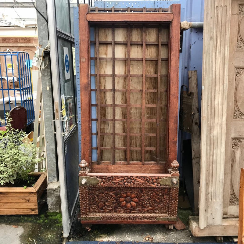 Antique Indian Haveli Mansion Window with Balcony | Studded (H200cm | W91cm)