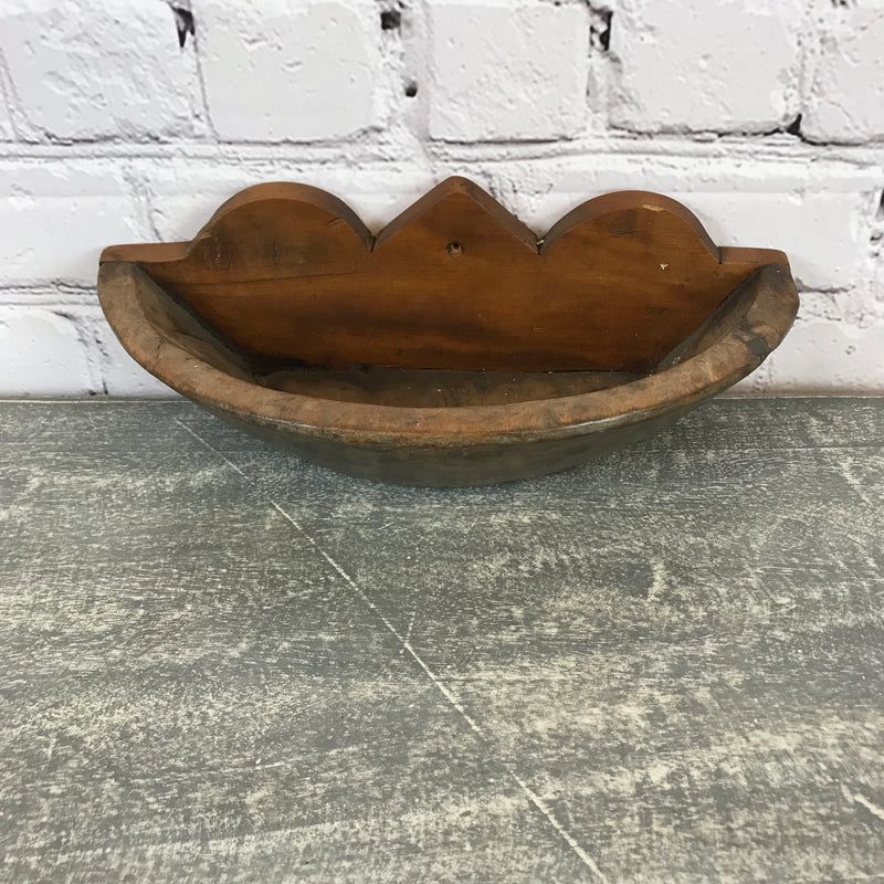Vintage teak Indian hand carved bowl shelf- 22967 (D+W)
