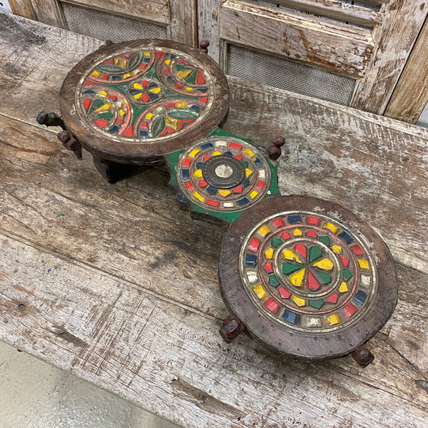 VINTAGE HAND CARVED PAINTED CEREMONIAL DOUBLE BAJOT TABLE WITH DRAW