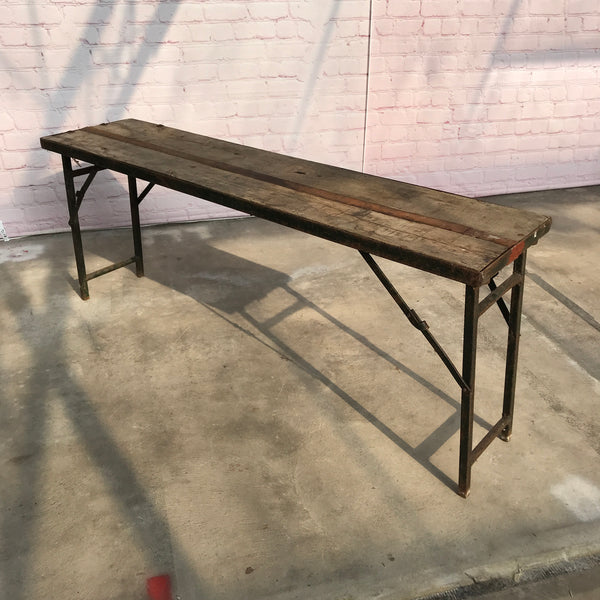 Reclaimed military folding trestle table