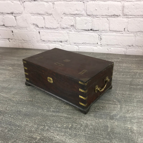 "Classic Anglo-Indian teak ""Merchant's"" box with brass details 