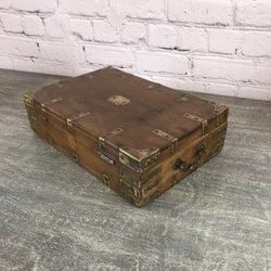Antique teak & brass desk box.