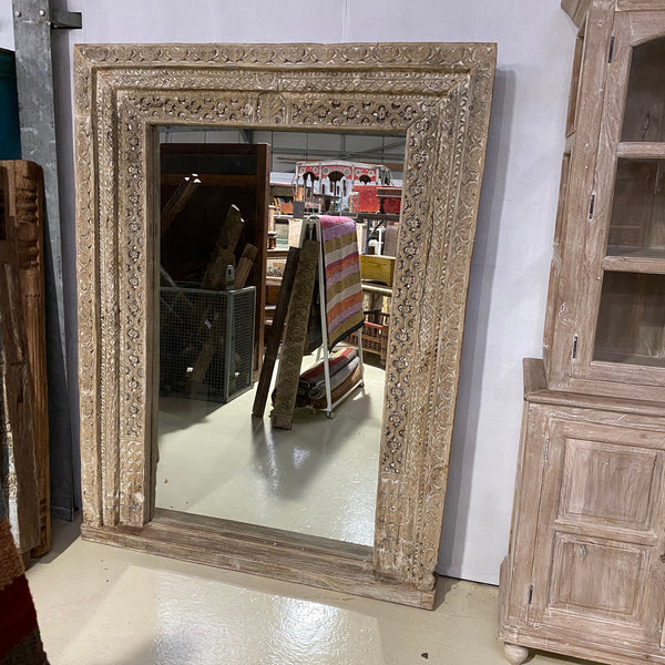 ANTIQUE INDIAN CARVED DOOR FLOOR MIRROR (H205cm | W155cm)