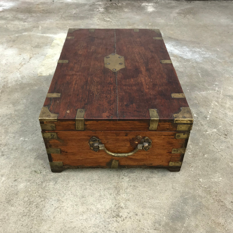 ANTIQUE INDIAN BRASS BANDED DOWRY CHEST