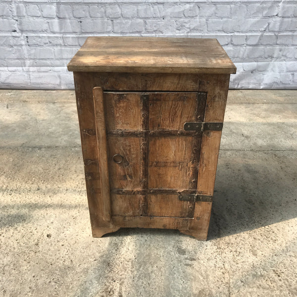 Rustic reclaimed wood bedside table