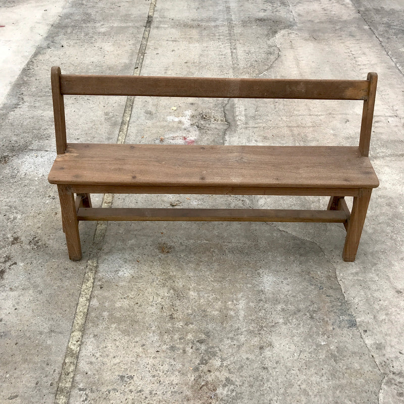 Vintage Indian teak wood school bench