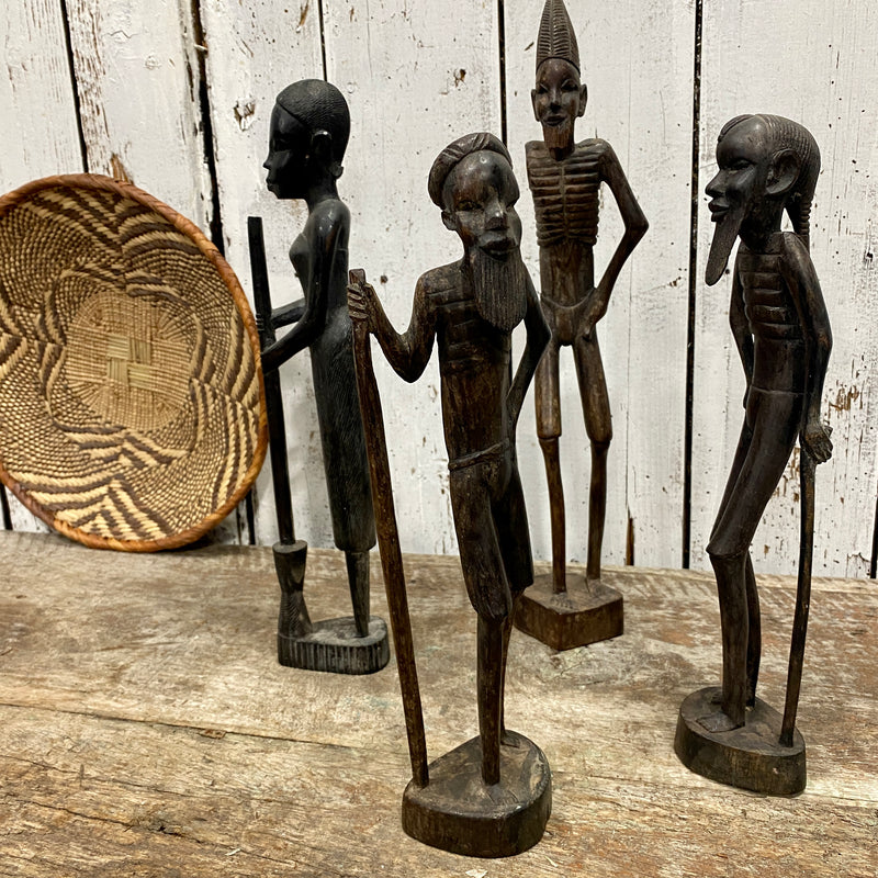 VINTAGE AFRICAN EBONY WOOD TRIBAL ART STATUE OF TURKANA MAN & STAFF