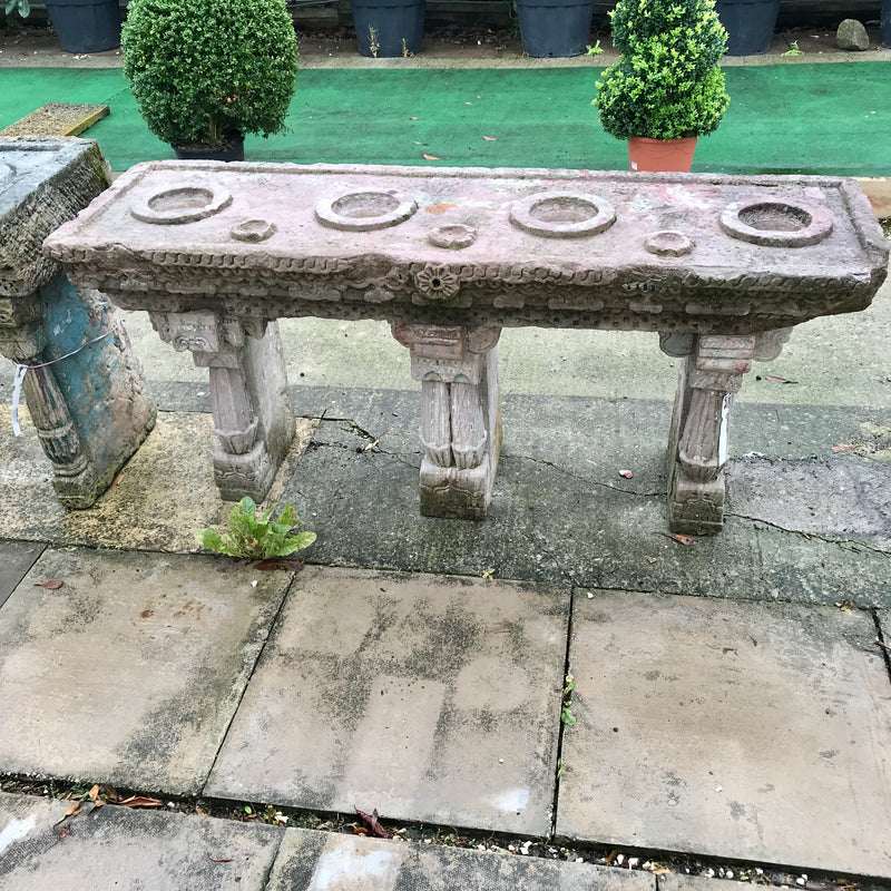 Antique Indian Carved Stone Water Table for 4 Water Pots