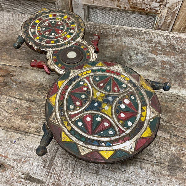 VINTAGE HAND CARVED PAINTED CEREMONIAL DOUBLE LOW BAJOT TABLE